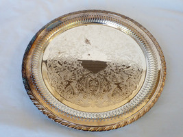 "VTG Oneida Silver Plated 12.25"" Serving Tray round pierced edge floral d... - $44.55"