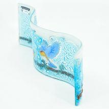 Fused Art Glass Bluebirds Birds on Branch Wavy Sun Catcher Handmade Ecuador image 4