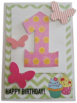 Happy Birthday Cards - 1st Birthday Card Designed For Girls Butterfly Bi... - $4.63