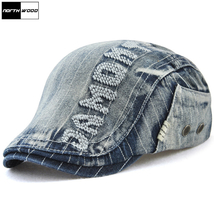 Denim Beret Caps For Women Men Hats And Caps Letter Brand Berets Peaked ... - $24.49