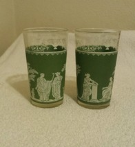 "2 Vintage Jeanette Green - Hellenic Grecian Wedgewood  Tumblers  5"" tall... - $2.49"