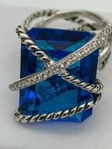 David Yurman 925 Diamonds 20x15mm Wrap Hampton Blue Topaz Ring Sz 7 - $1,103.43