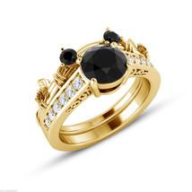14K Yellow Gold Finish Simulated Diamond Mickey Mouse Bridal Wedding Ring Set - $93.50
