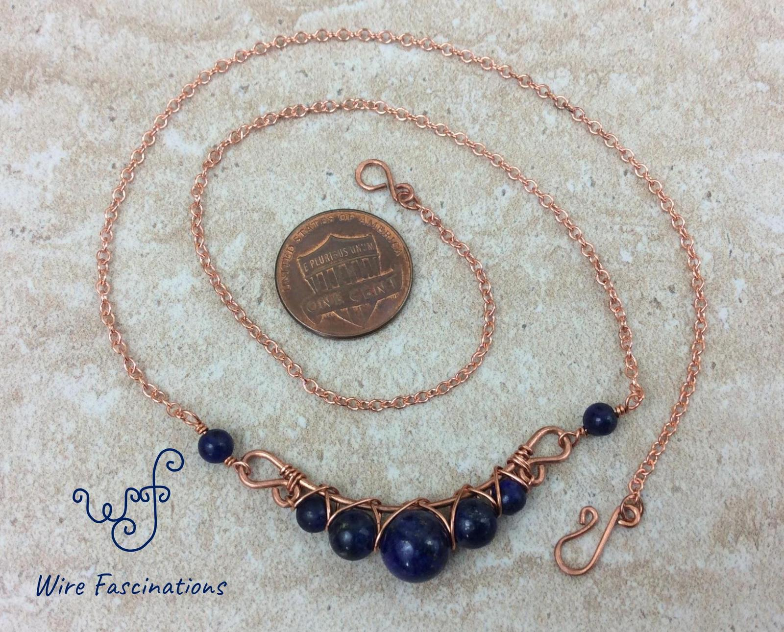 Handmade lapis lazuli necklace: criss cross copper wire wrapped image 8
