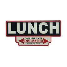 "Vintage American Diner Embossed Sign ""Lunch"" Wrigley's Doublemint Gum  O... - $21.29"
