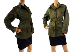 Vintage Women's French Air Force M47 olive khaki jacket coat army military - $25.00