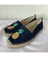 Vera Bradley Pineapple Embellished Espadrilles Shoes Navy Size 8 Slip on - $26.70