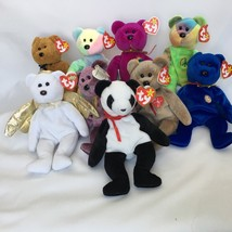 9 Ty Beanie Babies Teddy Bear Lot With Tags Clubby Peace Halo II Signatu... - $17.42
