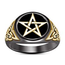Men's STAR Fashion Wedding Engagement 925 Sterling Silver Black Gold Fn Ring - $125.38