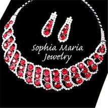 Red crystal rhinestone formal party evening necklace set mother or the b... - $25.73