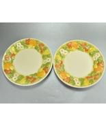 Metlox Vernon Ware Della Robia Set 2 Plates Fruit Flowers - $8.00