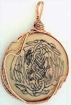 Celtic Knotwork Scrimshaw Cranes Copper Wrap Pendant 4 - $27.86
