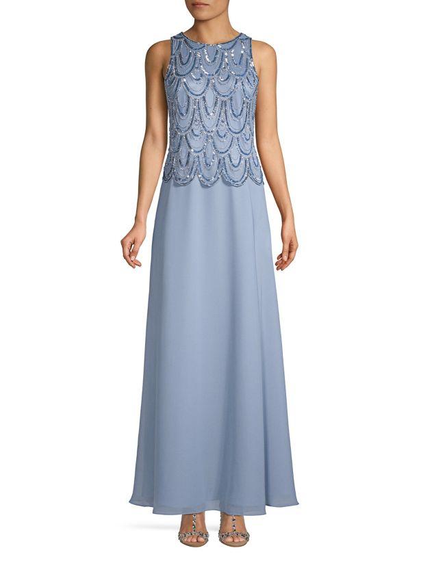 J Kara Sleeveless Evening Gown Dusty Blue/Silver Size 12 $269