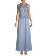 J Kara Sleeveless Evening Gown Dusty Blue/Silver Size 12 $269 - $104.49