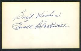 "AUTOGRAPH  OF  EWELL  BLACKWELL  ON  3X5""  INDEX CARD   !! - $24.99"