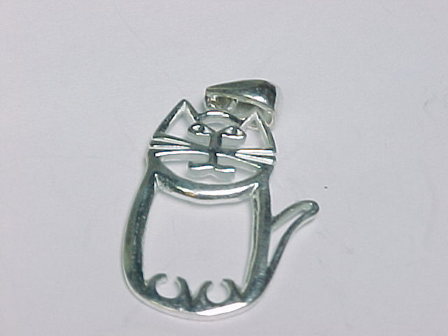 Primary image for CHUBBY KITTY CAT PENDANT in STERLING SILVER - 1.25 inches - FREE SHIPPING