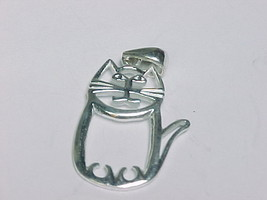 CHUBBY KITTY CAT PENDANT in STERLING SILVER - 1.25 inches - FREE SHIPPING - $38.50