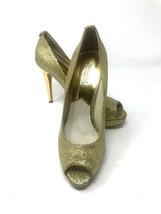 Michael Kors Women 8M York Platform Gold Glitter Bling Peep Toe High Heel Pump - $59.35