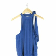 M - Cloth & Stone Anthropologie Blue Halter Tie Neck Sleeveless Jumpsuit 0000MB image 2