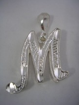 LETTER M INITIAL PENDANT CHARM WITH A DIAMOND C... - $24.70