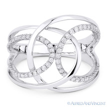 0.31ct Round Cut Diamond Right-Hand Overlap Loop Fashion Ring in 14k Whi... - $999.99