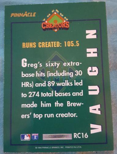1994 Pinnacle The Run Creators #RC16 Greg Vaughn Milwaukee Brewers Baseball Card