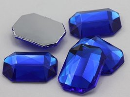 25x18mm Sapphire A09 Flat Back Octagon Acrylic Jewels High Quality Pro G... - $5.63
