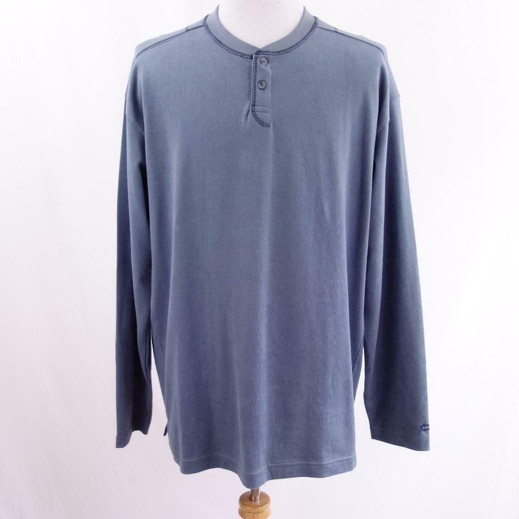 Primary image for Columbia Long Sleeve Gray 2 Button Henley Shirt Mens Sz 2XL