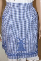 Vintage Traditional Dutch Style Windmill Cross Stitched Blue Gingham Hal... - $24.95
