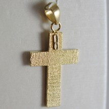 18K YELLOW & WHITE GOLD CROSS, SQUARED SATIN BRIGHT RAYS 1.10 INCH MADE IN ITALY image 2