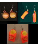 Funky HOT DOG-BURGER-FRENCH FRY FRIES EARRINGS Retro Fast Food Charm Jew... - $11.97