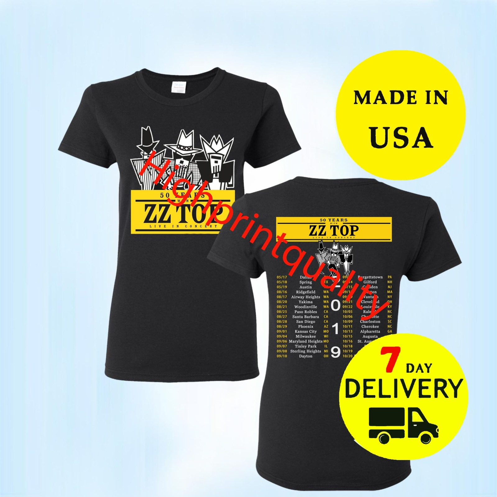 ZZ Top Shirt 50th Anniversary Tour 2019 T-Shirt Women Black Tee Size S-M-L-3XL T