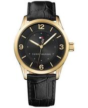 Tommy Hilfiger Men's Table Black Leather Strap Watch 42mm 1791331 - $69.95