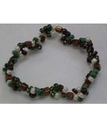 Czech Camouflage Color Glass Bead Stretch Bracelet - $3.00