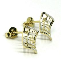SOLID 18K YELLOW WHITE GOLD EARRINGS, WAVY, 13x12 mm, WORKED RHOMBUS, STRIPED image 4