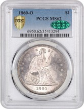 1860-O $1 PCGS/CAC MS62 - Popular New Orleans Mint - Liberty Seated Dollar - $2,832.40