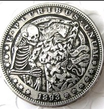 Rare Hobo Nickel 1893 Skull Skeleton Dancing with Butterfly Woman Casted... - $11.39