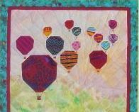 Pieced Quilt Pattern Hot Air Balloons Wallhanging 24 x 24 Foundation Piecing USA