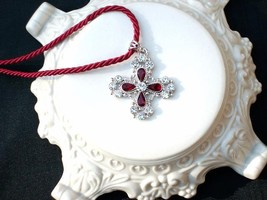 Cookie Lee Ruby Cross Necklace - Item 25290 - Genuine Crystal, New! - $18.00