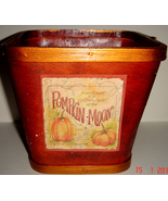 Rust Wooden Basket w/ Pumpkin Moon Cafe - $9.00