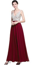 Women's Beaded Prom Dreeses Long V-Neck Chiffon Evening Gowns 2018 Formal Gowns - $135.99