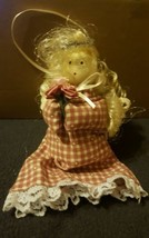 Wood ANGEL with halo & holding flpwers Christmas Tree ORNAMENT • Pre-owned - $5.12