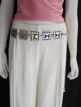 New Women Silver Fashion Belt Hip Waist Pyramid Suqare Plate Metal Chain links - $11.02