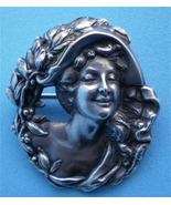 Art Nouveau Sterling Pin, Woman & Leaves, R. Bl... - $295.00