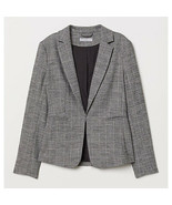 NWT Womens Size 0 H&M Gray Notched Collar Plaid Jacket - $19.59