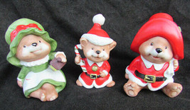 HOMCO Christmas mice figurines set of three mice 5400 ceramic vintage - $9.85