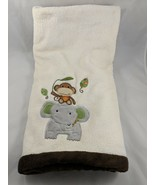 "KidsLine Cream Baby Blanket Elephant Monkey About 30"" x 39""   - $22.95"