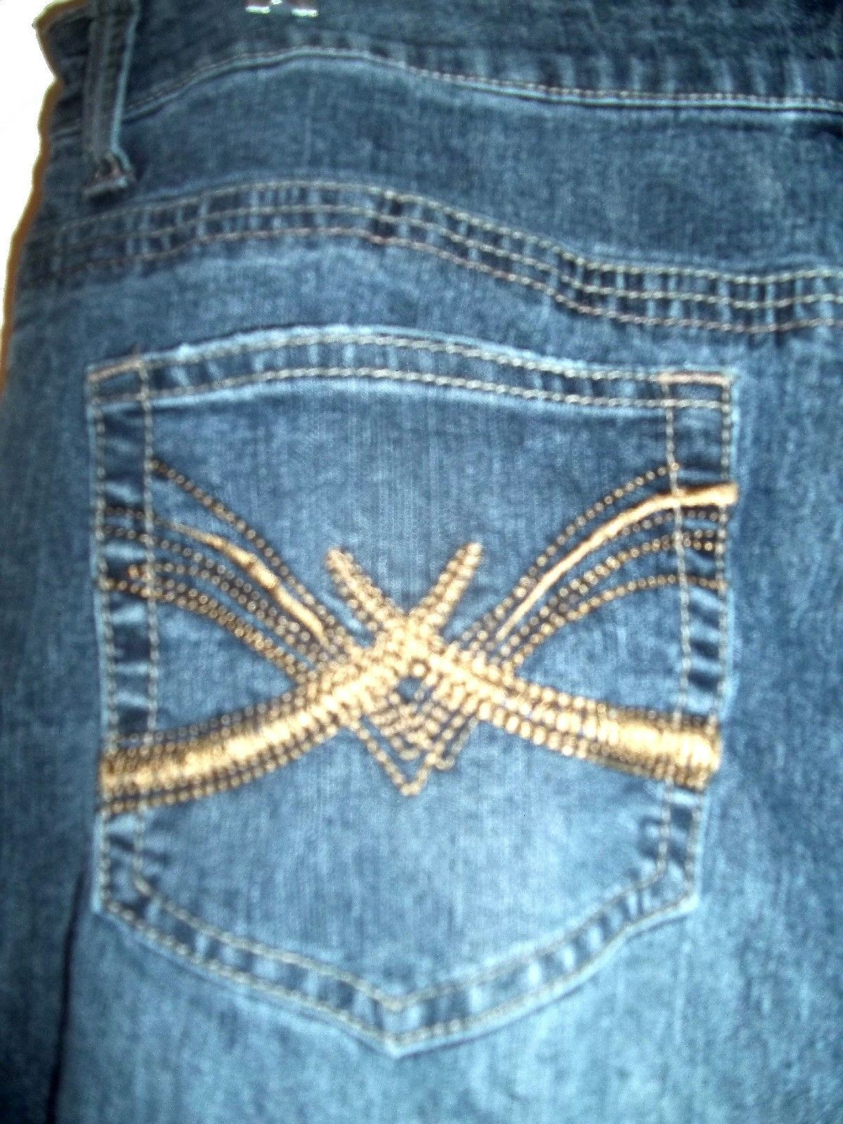 Sonoma Dark Blue Jean Denim Stretch Jeans with Embroidered Pockets Sz 14