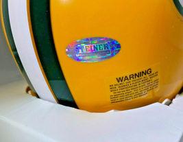 BART STARR / NFL HOF / AUTOGRAPHED GREEN BAY PACKERS LOGO MINI HELMET / STEINER image 6