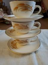 3 Vintage Homer Laughlin Golden Wheat 22k Gold Rim Tea Cup and Saucer Set USA - $23.76